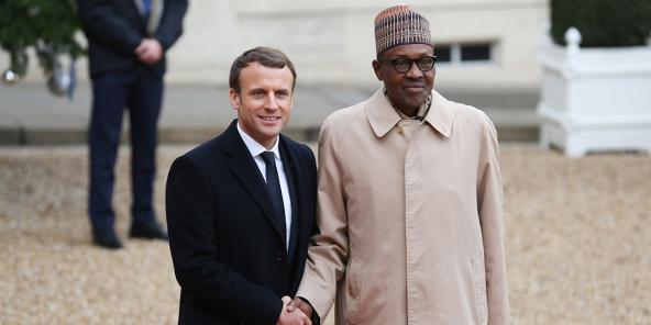 Emmanuel Macron et Idriss Déby Itno a l'Elysée a l'occasion du One Planet Summit, en janvier 2021