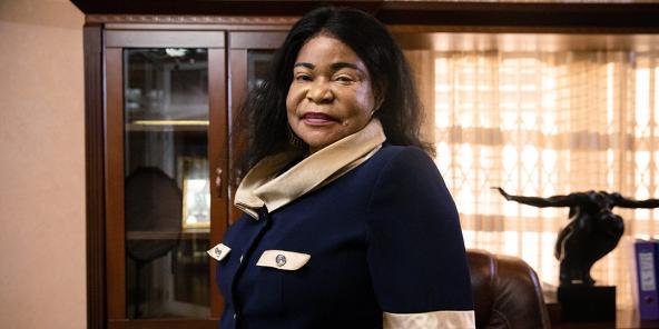 Sanata Yameogo, PDG de AGB (Afrique Génie Bâtiment) au siège de son entreprise à Ouagadougou., le 28 avril 2021.