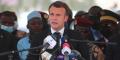 Le président français Emmanuel Macron lors des funérailles d'Idriss Déby Itno à N'Djamena, le 23 avril.
