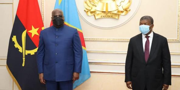Félix Tshisekedi em Luanda, 16 de novembro de 2020, para receber João Lourenço.