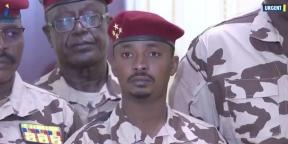 Mahamat Idriss Déby, fils d'Idriss Déby Itno, le 20 avril 2021 sur les écrans de la télévision nationale tchadienne.