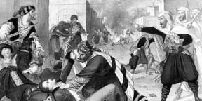 L'émir Abdelkader (à dr.), volant au secours des chrétiens du Levant, à Damas, le 9 juillet 1860.