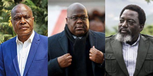 Le président congolais Félix Tshisekedi (c.), entourés de Martin Fayulu (g.) et Joseph Kabila (d.).