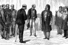Le consul de France présente le général français Jules Aimé Bréart à Mohamed es-Sadok, à Tunis, lorsque fût signé le traité du Bardo, en mai 1881.