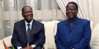 Alassane Ouattara et Henri Konan Bédié, en 2015 à Abidjan.