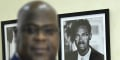 Félix Tshisekedi devant un portrait de Patrice Lumumba, figure de l'indépendance, assassiné dans l'ex-Katanga en janvier 1961.