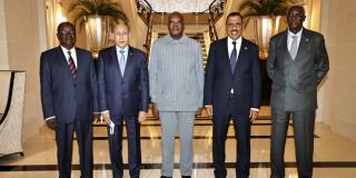 Les chefs d'Etat du G5 Sahel, le 17 mai à l'hôtel The Peninsula Paris.