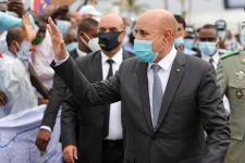 Mohamed Ould Ghazouani à l'aéroport de Brazzaville, le 30 janvier 2020.
