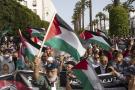 Manifestation de solidarité avec les Palestiniens, à Rabat, devant le Parlement, le 16 mai 2021.