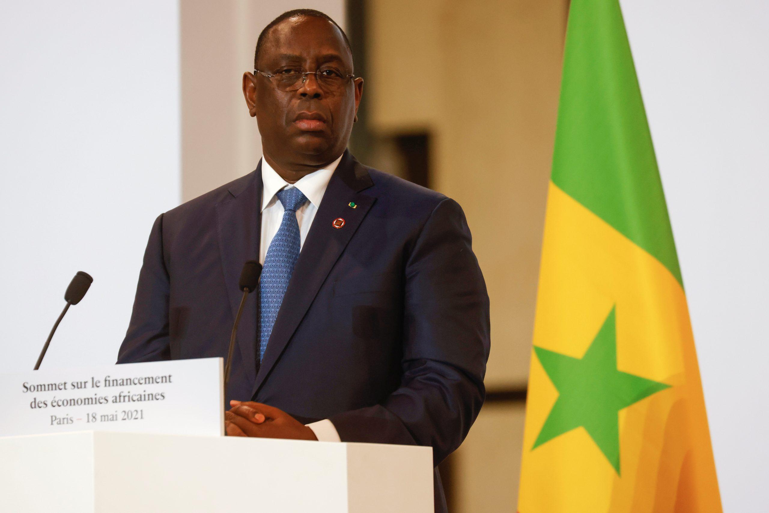 Le président sénégalais Macky Sall, lors du sommet de Paris, le 18 mai 2021.