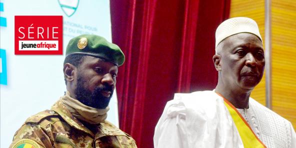 Assimi Goïta et Bah N'Daw lors de la cérémonie de prestation de serment, le 25 septembre 2020, à Bamako.