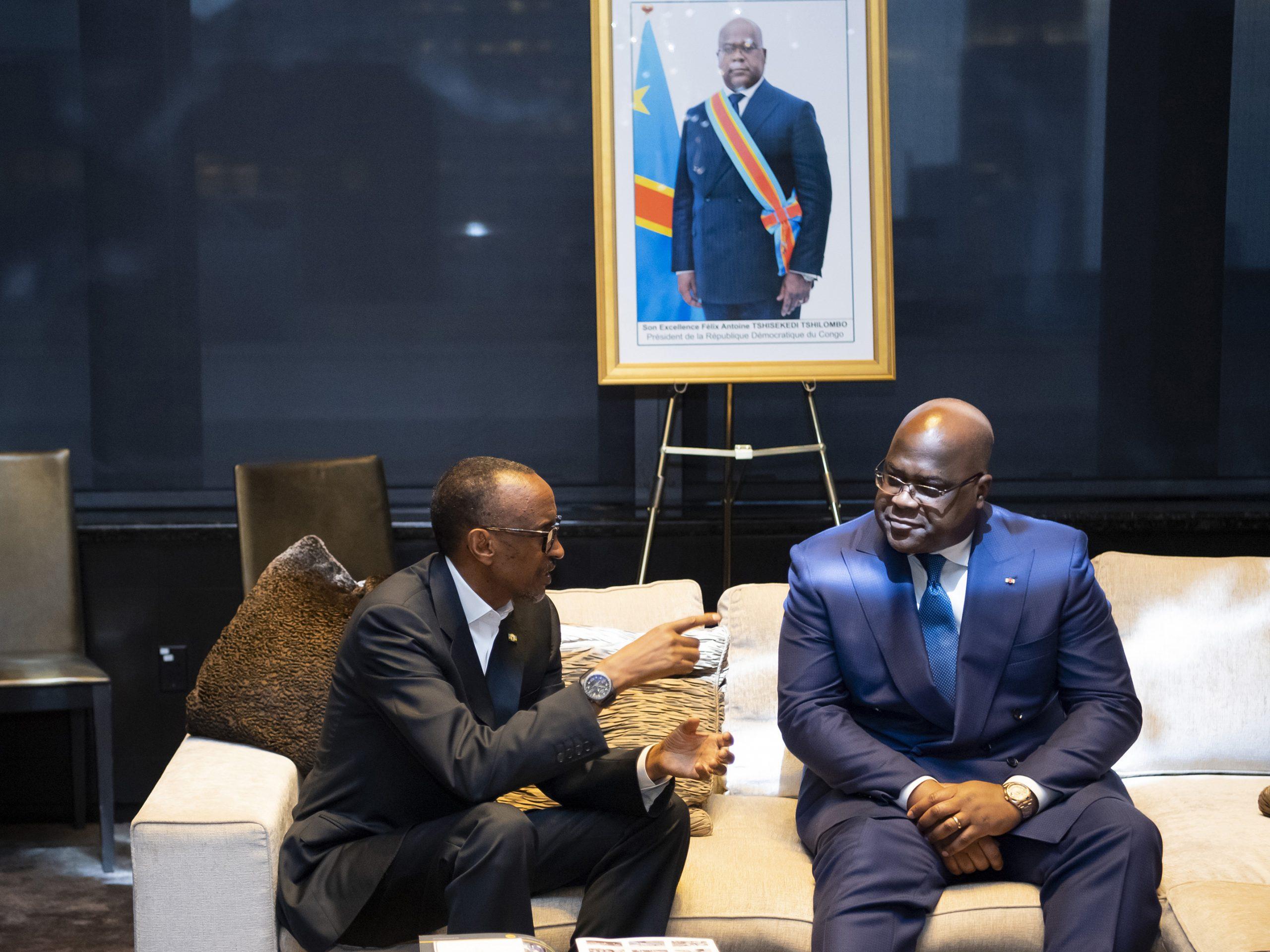 Le président rwandais Paul Kagame rencontre son homologue congolais Félix Tshisekedi, le 24 septembre 2019.
