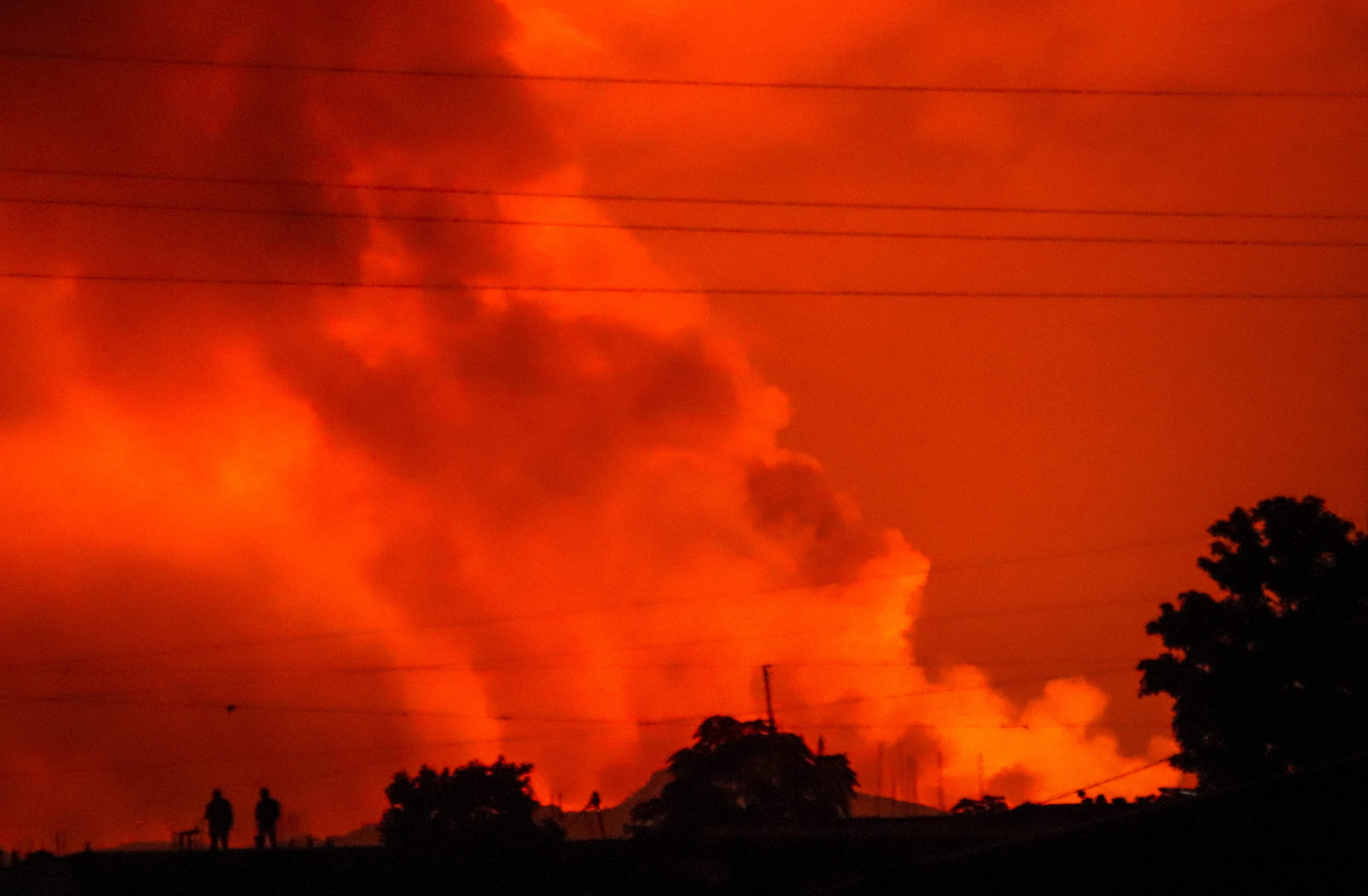 Le ciel de Goma, après l'éruption du Nyiragongo, samedi 22 mai 2021.
