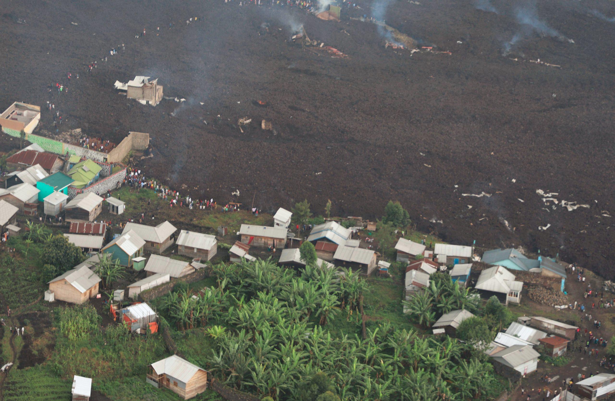 La coulée de lave du volcan Nyirangongo, près de Goma, le 23 mai 2021.