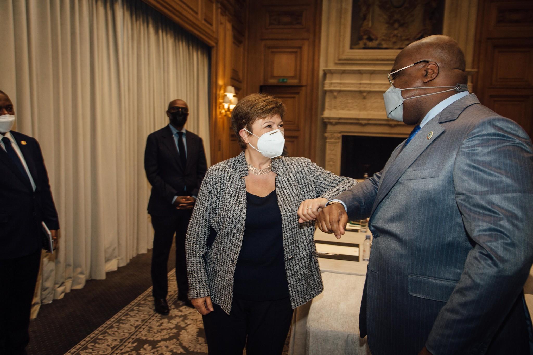 Kristalina Georgieva, DG du Fonds monétaire international (FMI), et le président Félix Tshisekedi (RDC), à Paris le mai 2021.