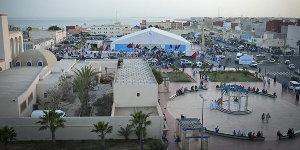 Centre-ville de Dakhla, à 1400km de Rabat et à 1000km de Dakar.