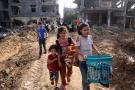 Dans un quartier de Beit Hanoun, dans le nord de la bande de Gaza, le 21 mai 2021, après l'entrée en vigueur d'un cessez-le-feu entre Israël et le Hamas.