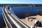 Vue aérienne du nouveau pont de Kazungula sur le fleuve Zambèze à Kazungula, au Botswana, le 10 mai 2021.