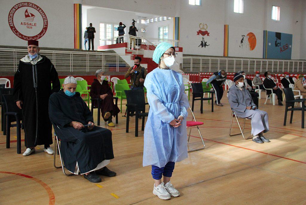 Centre de vaccination à Salé, fin janvier.