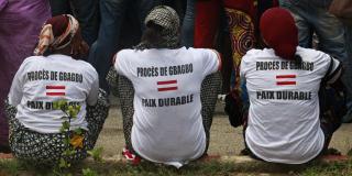 Manifestation de proches des victimes de la crise postélectorale, réclamant que Laurent Gbagbo soit poursuivi devant la CPI.