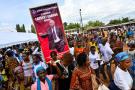 Manifestation des partisans de Laurent Gbagbo dans le village de Mama, le 13 juin 2021.