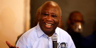 Laurent Gbagbo, devant ses partisans, à Abidjan, le 17 juin 2021.