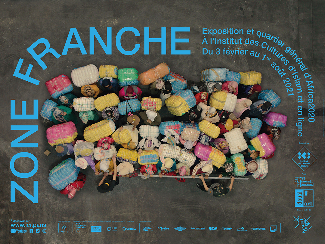 Affiche de l'exposition Zone Franche à l'Institut des cultures d'islam, 56 rue Stephenson et 19 rue Léon, à Paris, jusqu'au 1er août 2021