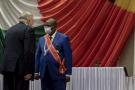 Faustin Archange Touadéra et Vladimir Efimovich Titorenko, l'ambassadeur russe à Bangui, le 30 mars 2021 lors de l'investiture duy président centrafricain pour un second mandat.
