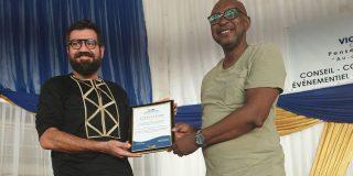 Le 19 juin 2021, en Centrafrique. MasterClass pour les entrepreneurs et porteurs de projets sur le thème «Poursuis ton rêve» guest speaker et parrain, AMK. Co-parrain Raed Hariri.