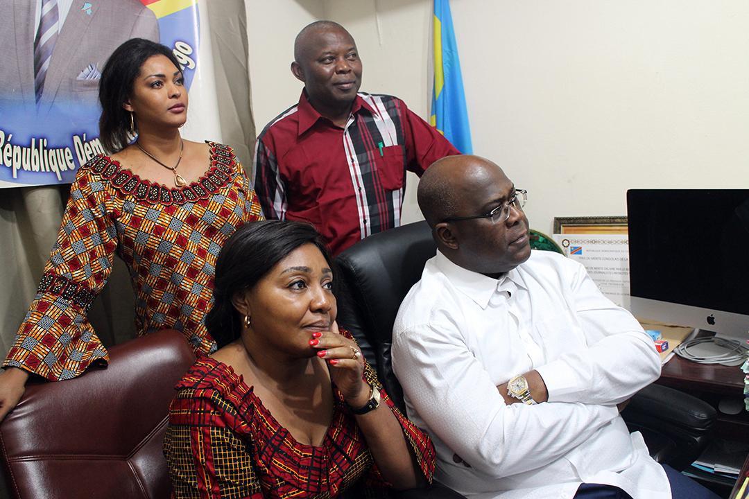 Les couples Tshisekedi et Kamerhe, le 10 janvier 2019, lors de l'annonce des résultats de l'élection présidentielle.