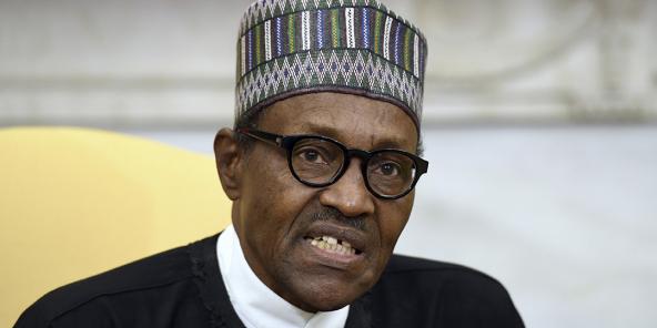 Le président Muhammadu Buhari du Nigeria lors d'une réunion avec le président Donald Trump dans le bureau ovale de la Maison Blanche, le 30 avril 2018, à Washington.