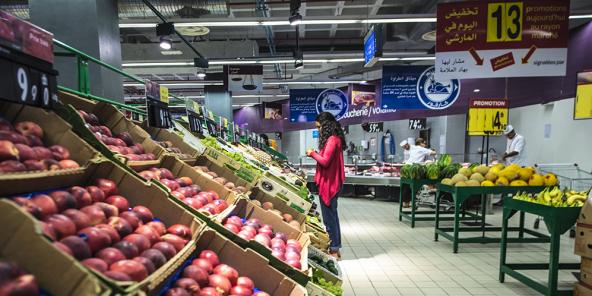 Les supermarchés Carrefour, comme ici à Casablanca, s'approvisionnent en produits frais dans le royaume.