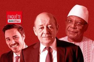 Jean-Yves Le Drian (c.), son fils Thomas (g.) et l'ex-président malien Ibrahim Boubacar Keïta (d.).