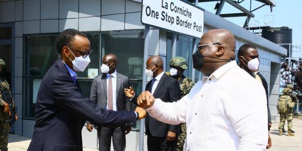 Les présidents rwandais Paul Kagame et congolais Félix Tshisekedi, le 26 juin 2021.