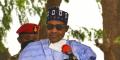 Le président nigérian Muhammadu Buhari  à Maiduguri, le 17 juin 2021.