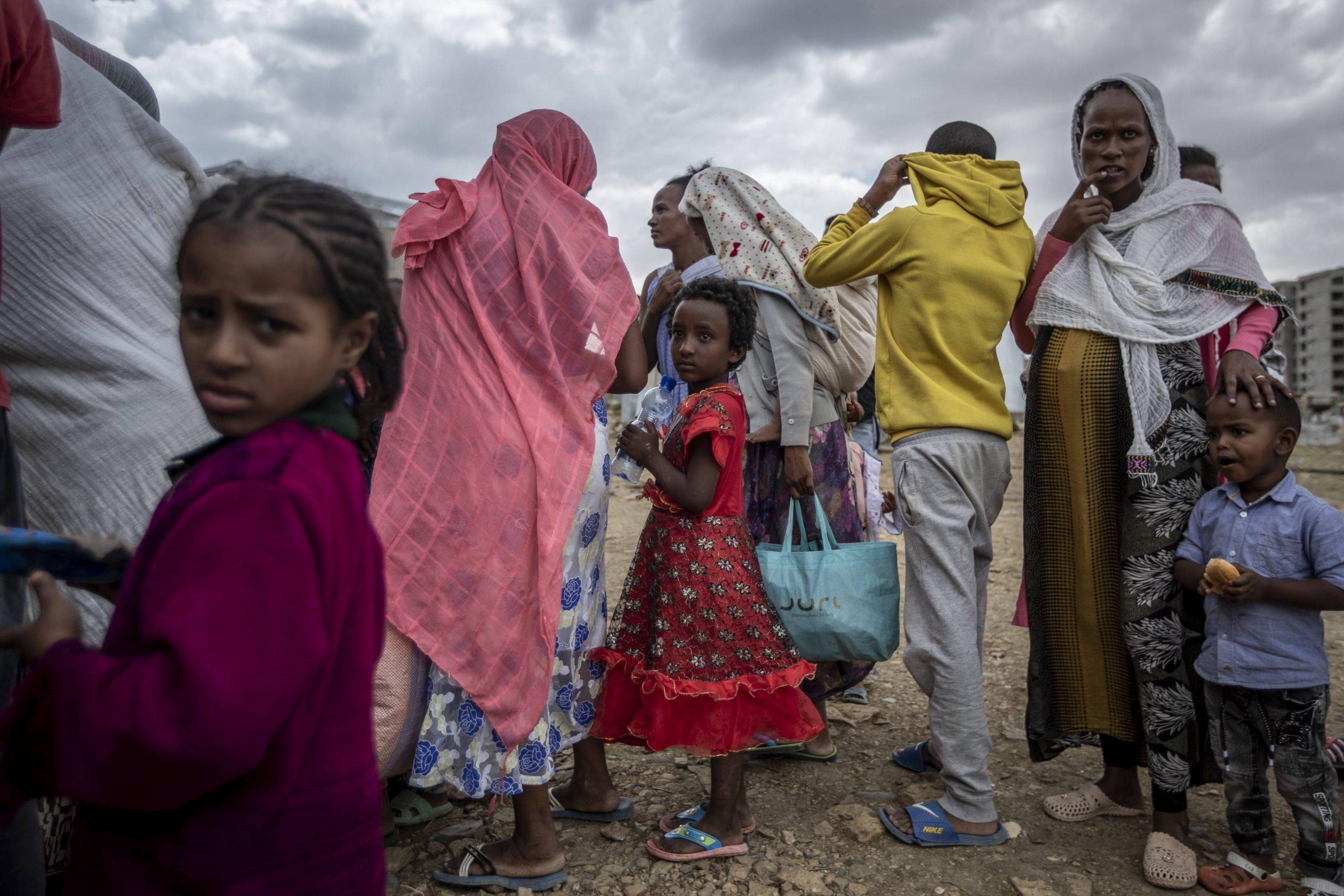 Dans un centre d'accueil pour personnes déplacées à Mekele, dans la région du Tigré au nord de l'Éthiopie, le dimanche 9 mai 2021.