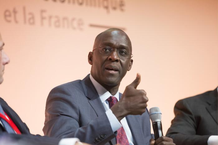Makhtar Diop est directeur général de IFC, filiale du groupe de la Banque mondiale. Ici lors du Forum Afrique de Bercy, en 2015.