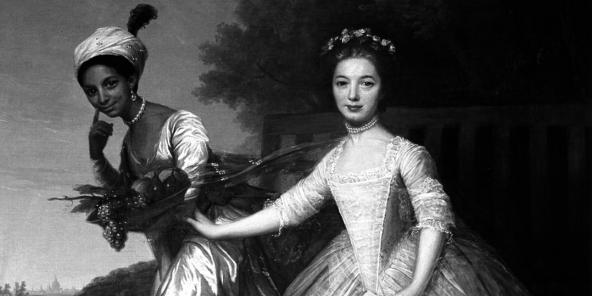 Dido Elizabeth Belle et Elizabeth Murray, peinture attribuée à David Martin. Cette fille d'un amiral britannique et d'une esclave est une figure emblématique associée aux courants anti-esclavagistes du XVIIIe siècle.