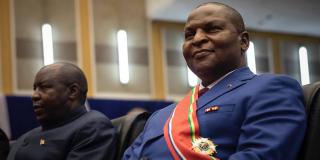 Faustin Archange Touadéra, lors de sa prestation de serment, le 30 mars 2021 à Bangui.