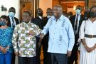 Henriette et Henri Konan Bédié (à gauche), et Laurent Gbagbo et Nady Bamba, le 10 juillet à Daoukro.