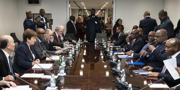 Rencontre entre la directrice générale du FMI, Kristalina Georgieva, et le président de la République démocratique du Congo, Felix Tshisekedi, à Washington, DC, le 2 mars 2020.