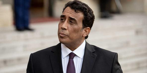 Mohamed el-Menfi, président du Conseil présidentiel libyen, ici reçu à l'Elysée, à Paris, en France, le 23 mars 2021.