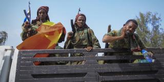 Des soldats tigréens à Mekele au lendemain de la reprise de la capitale du Tigré, le 29 juin 2021.