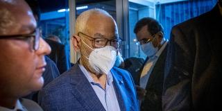 25 juillet 2021: déclaration de Rached Ghannouchi devant le siège du parti islamiste Ennahdha.
