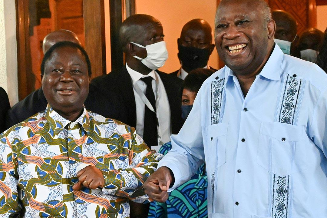 Henri Konan Bédié et Alassane Ouattara, le 10 juillet 2021 à Daoukro.