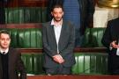 Le député tunisien Yassine Ayari (au centre), le 15 février 2018 au Parlement, à Tunis.