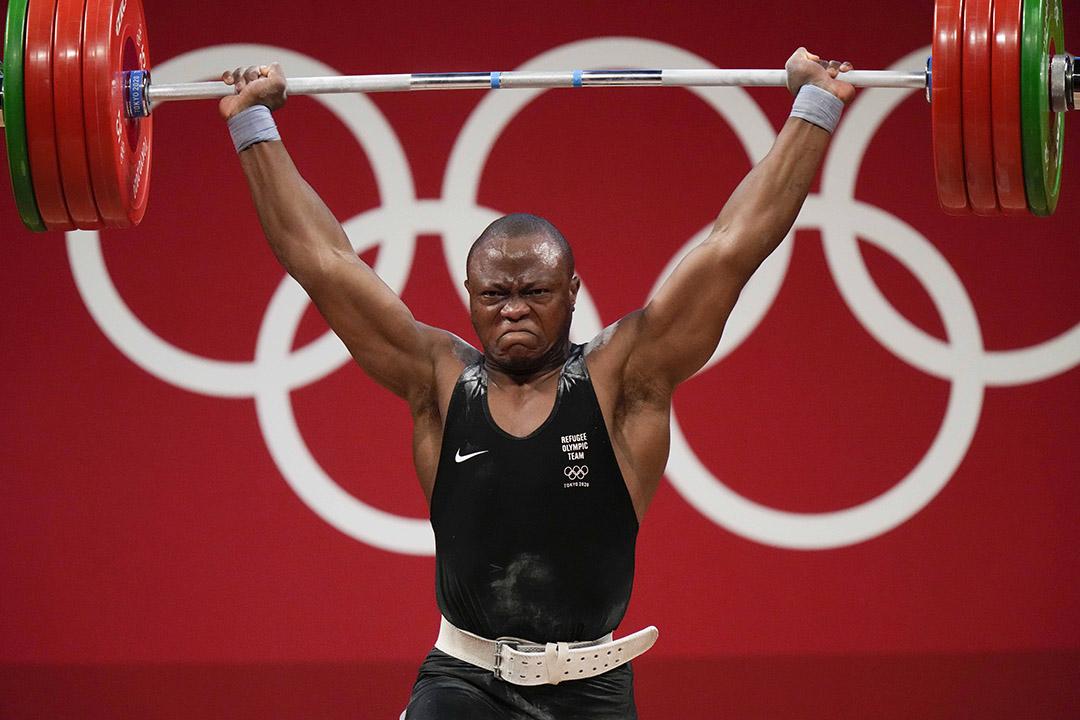 Cyrille Tchatchet lors de l'épreuve d'haltérophilie dans la catégorie des moins de 96kg, le 31 juillet 2021