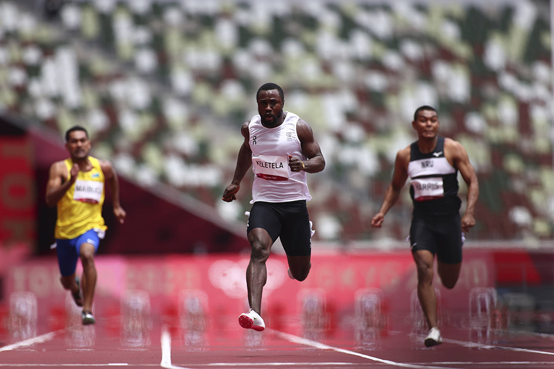 Dorian Keletela lors des qualifications pour le 100m dans le stade olympique de Tokyo, le 31 juillet 2021