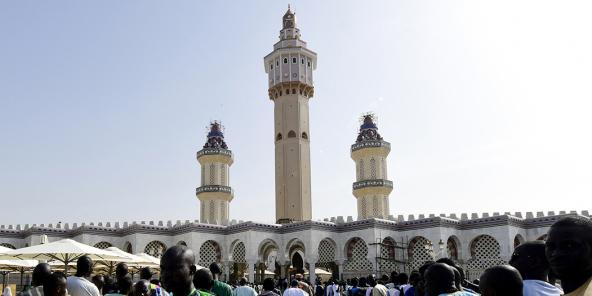 Pèlerins devant la Grande Mosquée de Touba, à l'occasion du Magal, en octobre 2018.