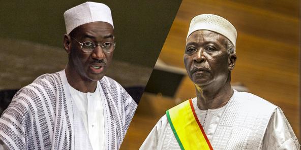 Moctar Ouane (à g.) et Bah N'Daw, respectivement Premier ministre et président de la transition malienne, de septembre 2020 à mai 2021.